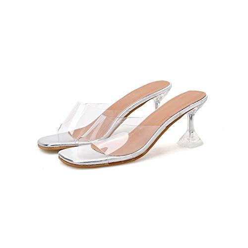 NHAO Claro para Mujer Peep Toe Sandalias de tacón de Bloque resbalón en Mulas de tacón Zapatos del Deslizador de Vestir sin Respaldo,9.5