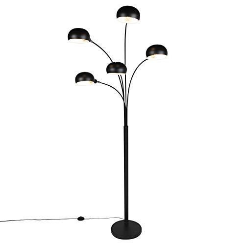 QAZQA Diseño Lámpara de pie diseño negro 5-luces - SIXTIES Acero Alargada Adecuado para LED Max. 5 x 25 Watt