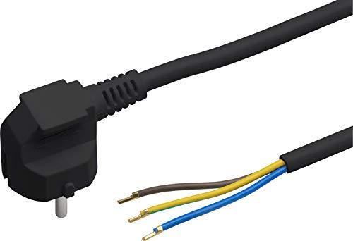Meister Schutzkontakt-Zuleitung - 5 Meter - schwarz - Kunststoffleitung H05VV-F3G1,5 - 3 Adern - IP20 / Anschlussleitung mit Schuko-Stecker / Anschlusskabel / Installationsmaterial / 7434530