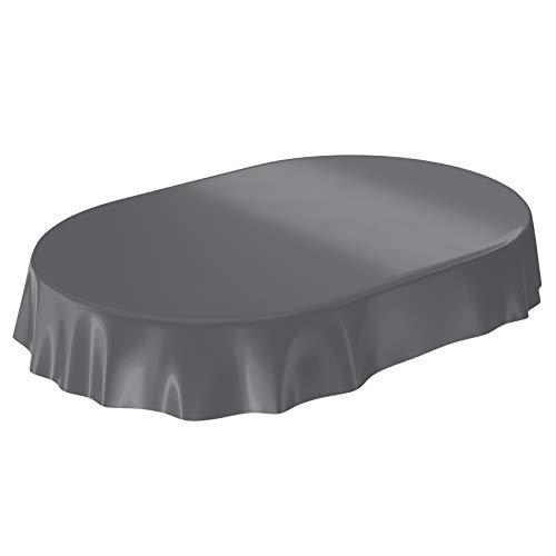 Anro Nappe en toile cirée lavable, uni, brillant, Toile cirée, anthracite, Schnittkante Oval 140 x 240cm
