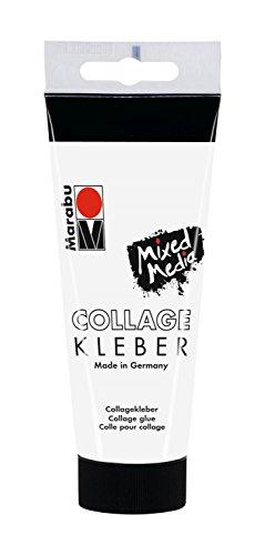 Marabu 12040050845 - Transparenter, dickflüssiger Collage Kleber auf Wasserbasis, mit starker Klebekraft für Papier, Foto und Collagen auf porösen Oberflächen wie Leinwand, Papier und Holz, 100 ml