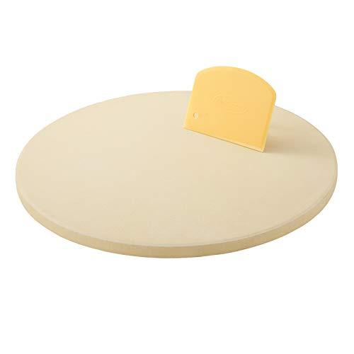 Unicook Pizzastein Rund für Gasgrill, 26cm Steinplatte für Backofen, persönliche Größe Cordierit Backstein, Passend zum Backen von Knuspriger Pizza, Brot, Keksen