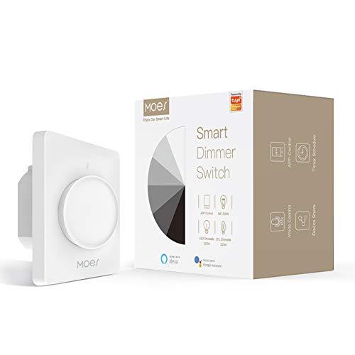 MOES WiFi Interruttore dimmer LED a luce rotante intelligente, Touch Dimming Control Timer Luminosità Memoria, Smart Life Tuya APP Telecomando Funziona con Alexa Google Voice Assistants, Bianco