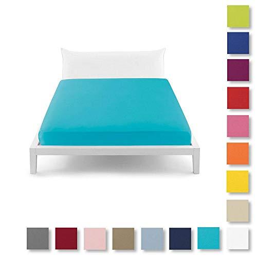 Bassetti - Perfetto Pop Color - Sábana Bajera Ajustable para Cama de Matrimonio, Color celeste-3381