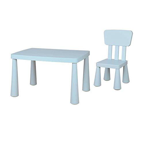 FTFTO Equipo Diario Juego de Mesa y sillas para niños, niños pequeños, Juego de Mesa y sillas de plástico para Actividades de Estudio, Uso en Interiores o Exteriores para Sus Hijos, Incluye 2 sillas