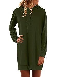 YOINS Sweatshirt Damen Langer Kapuzenpullover Langarm Hoodie Pullover mit Tasche Pulli Kleider Strickjacke Lange Tops Mantel Armee grün M