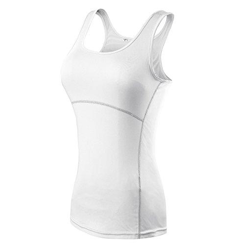 ZKOO Tapa Camiseta Chaleco Deportes para Mujeres del Aptitud De Yoga Que Se Ejecutan Blanco S
