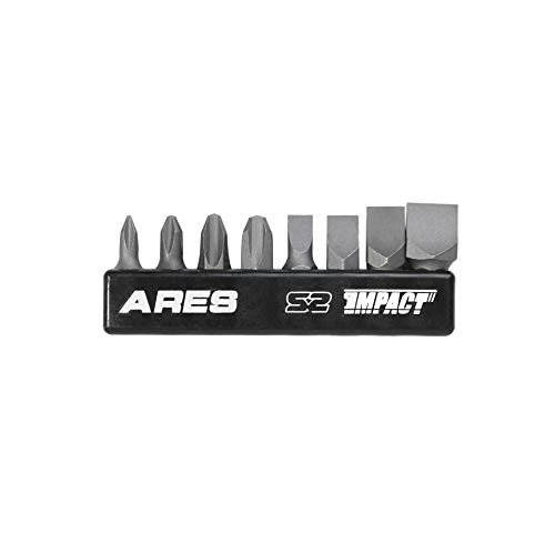ARES 70013-8-Piece S2 Steel Impact Driver Bit Set - Includes Phillips 1,2,3,4 and Slotted 1/4-Inch, 5/16-Inch, 3/8-Inch and 1/2-Inch Bits - High Alloy S2 Steel Construction
