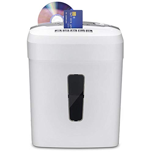 Papirschredder,Partikelschnitt schredder,Home Office Aktenvernichter (Partikelschnitt, Sicherheitsstufe P4, 5Blatt Kapazität, 10L Abfallbehälter, Schredder) weiß