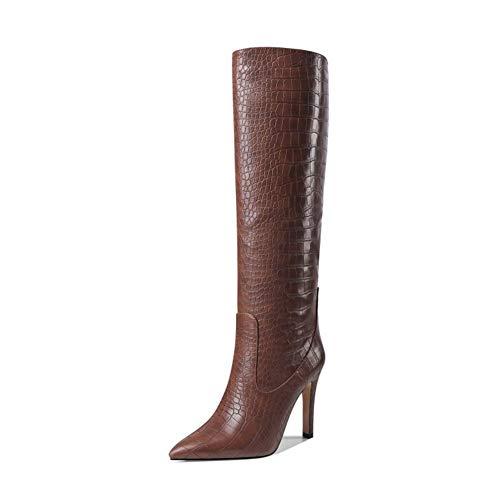 Damskie buty na wysokim obcasie, szpilki do kolan, modne skórzane tłoczone buty na wysokim obcasie w szpic, buty damskie z rękawami (Color : Brown, Size : 43EU)