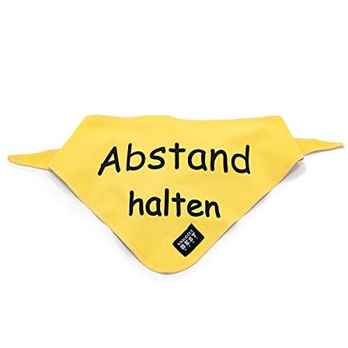 KNAUDER'S BEST Hunde-Halstuch Gelb Abstand Halten Bandana mehr Sicherheit und Schutz für deinen Hund