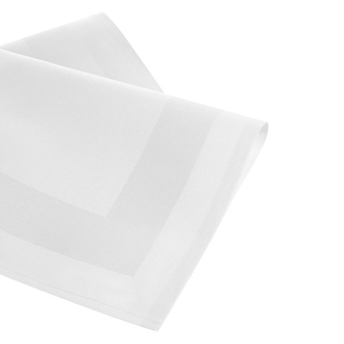 DAMAST Tischdecke Gastro Edition Eckig Rund Weiß mit Atlaskante Größe wählbar DAMAST Tischwäsche , Serviette , Tischläufer von DecoHometextil- 1 x Serviette 50x50