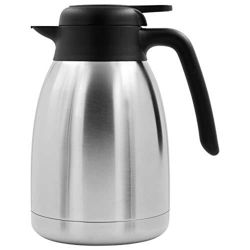 TRINKBASIS Isolierkanne 1,5 L – Thermoskanne aus doppelwandigem Edelstahl für bis zu 10 Tassen Kaffee, Kakao oder Tee