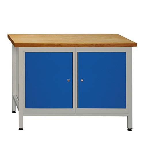 ADB Werkzeugtisch Werkbank Werktisch Werkstatt Arbeitstisch Regal mit 2 Türen Werkstatteinrichtung...