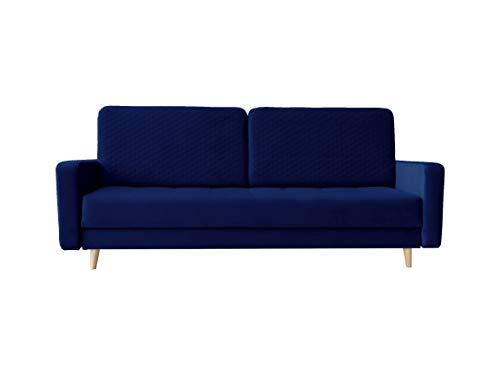 Sofa mit Schlaffunktion und Bettkasten, Couch für Wohnzimmer, Schlafsofa Federkern Sofagarnitur Polstersofa Wohnlandschaft mit Bettfunktion - MAMARA (Dunkelblau)