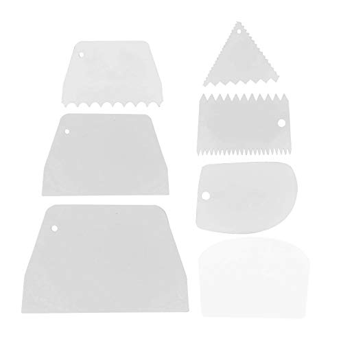 Clyhon - Juego de 7 raspadores de pasteles más suaves, raspadores de bordes de pasteles de plástico Cortadores de masa Raspador de mantequilla Crema Herramientas de decoración de bordes de pasteles.