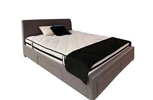 Meubletmoi Pack LIT Double Tissu Gris + Matelas - lit 4 tiroirs - 140 x 190 Qualité Prestige avec tête de lit, Pieds en Bois et sommier intégrés - Vancouver
