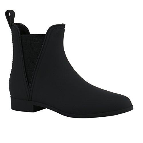 Damen Stiefeletten Chelsea Boots Lack Damen Muster Animal Print Blockabsatz Schuhe 137934 Schwarz Matt 36 Flandell