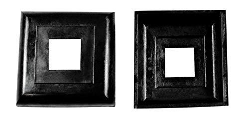 SN-TEC Abdeck Rosetten Eckig für Geländer | Rohre | Heizungen usw, Schwarz/Weiß/Grau (10 Stück) (Aussen 40x40mm / Innen 16x16mm, Schwarz)
