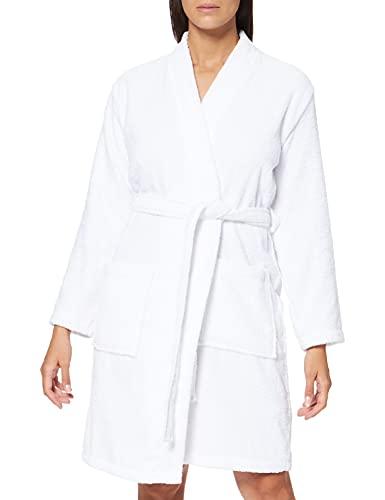 Amazon-Marke: Iris & Lilly Damen Kurzer Frottier-Hausmantel, Weiß (White), L, Label: L