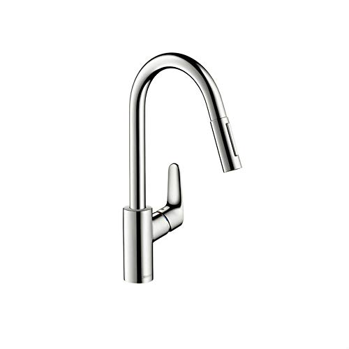 hansgrohe Focus Premium 1-Handle 16-inch Tall Kitchen Faucet with Pull Down Sprayer with Quick Clean Magnetic Docking Spray Head in Chrome, 04505000