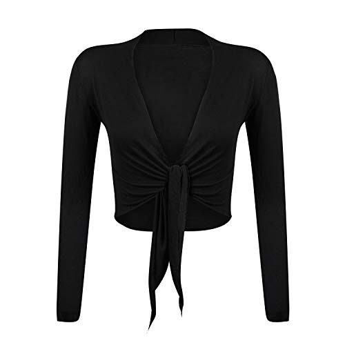 Glamexx24 Elegante chaqueta de bolero de manga larga encogiéndose de hombros cardigan