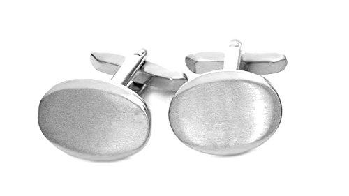 Unbekannt Elegante Manschettenknöpfe oval silbern matt-glänzend inkl. Silberbox
