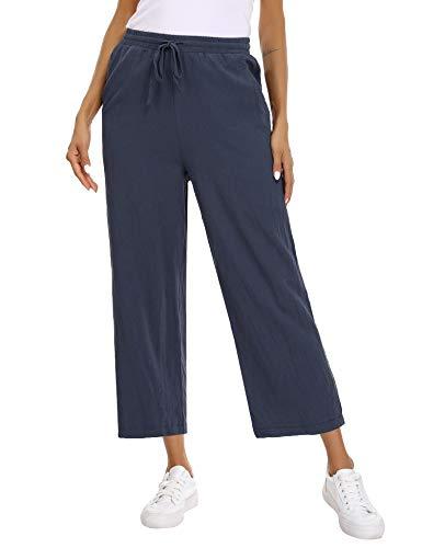 Abollria Pantalones de Algodón y Lino para Mujer Sueltos Pantalones de Pierna Ancha Verano Pantalón Anchos Pants Pantalones de Palazzo con Cordón
