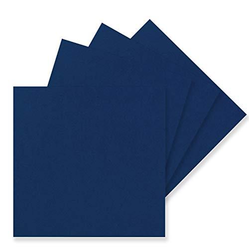 50 Einzel-Karten Quadratisch - 15 x 15 cm in Nachtblau (Blau) - 240 g/m² - blanko Bastel-Karten, Postkarten, Bastelkarton in Ton-Papier Qualität
