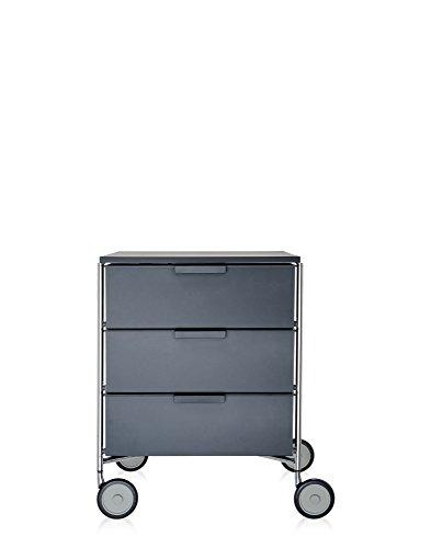 Kartell Mobil, Mobile Contenitore, 3 cassetti, Con rotelle, Ardesia Opaco