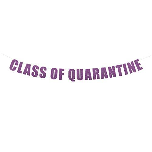 Class of Quarantine Banner - Funny Party Sign, Virtual Graduation Party Decorations, Quarantine Grad Banner, Congrats Class of 2020 Grad Decor | String It Banners (Purple Orchid Glitter)