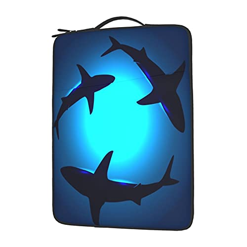 ZXZNC 15.6 Laptop Case Underwater Shark Beach Sea Ocean Blue 15.6 Inch Laptop Sleeve 15in Computer Bag Laptop Carrying Case Protective Cover for Women Men Kids Girls Boys Ladies Cute with Handle