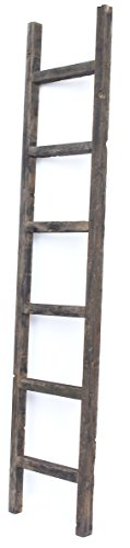 BarnwoodUSA Rustic Farmhouse Decorative Ladder - Our 6 ft Ladder can be Mounted Horizontally or Vertically and is Crafted from 100% Recycled and Reclaimed Wood | No Assembly Required | Black