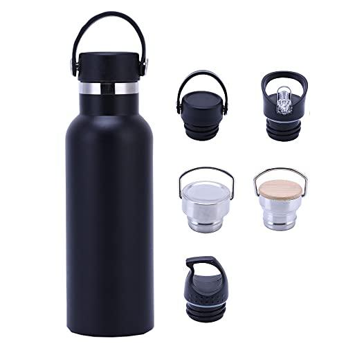 LUEROD Botella térmica de acero inoxidable a prueba de fugas, sin BPA, con 5 fundas para bebidas calientes y frías, adecuada para deportes, yoga, fitness, camping