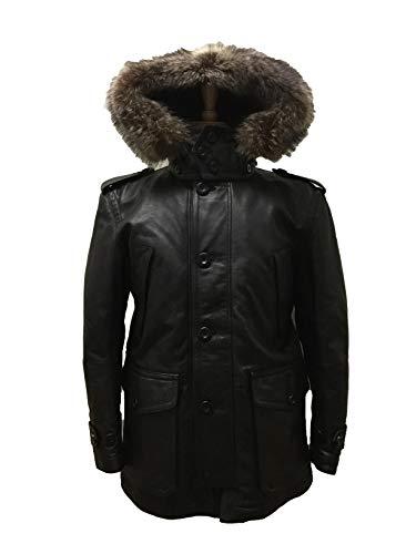 COACH 83997 Men's Thompson Leather Snorkel Parka Insulated Winter Coat Fur Trim Black
