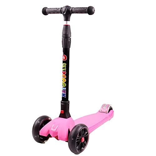 PTHZ Scooter de 3 Ruedas, Scooter para niños portátiles Plegables, 3 Ruedas Intermitentes y Ajuste de Altura, liberación rápida de Plegado, Adecuado para niños y niñas de 3 a 12 años,Rosado