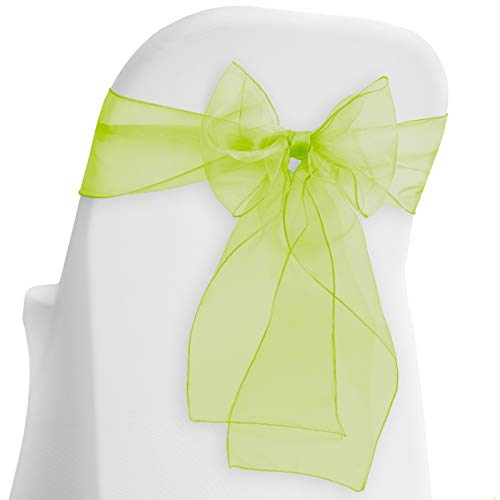 Lann's Linens - 10 Elegant Organza Wedding/Party Chair Cover Sashes/Bows - Ribbon Tie Back Sash - Sage Green