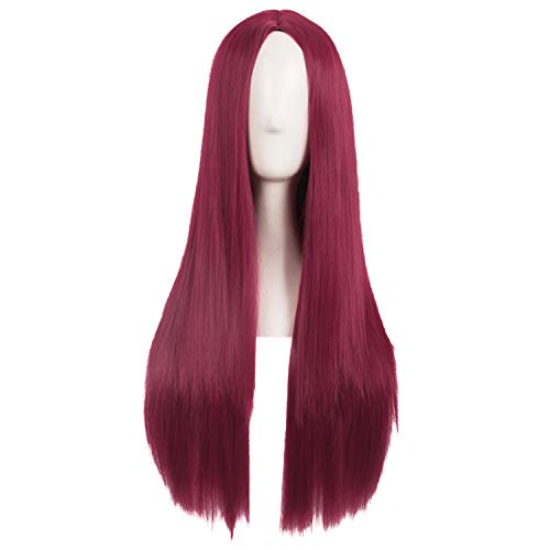 MapofBeauty 28 Inch/70cm Women Special Natural Long Straight Synthetic Wig (Blood Red)