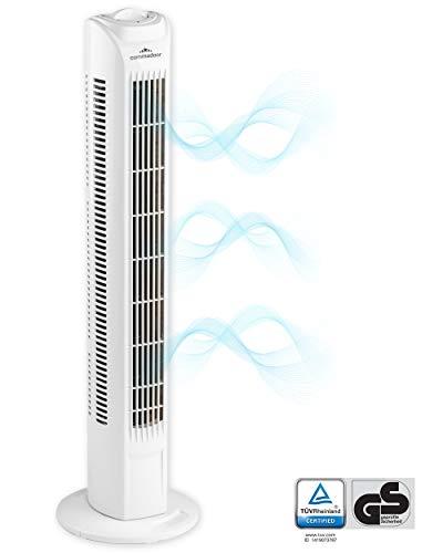 Commodoor Turmlüfter 45W I 3 Geschwindigkeitsstufen I Tower Fan 78cm I Ventilator hoch I Turmventilator leise I Standventilator I Säulenventilator I Oscillating Fan I Air Conditioner