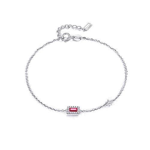 Beydodo Pulsera de Mujer Plata Rojo,Pulsera Mujer Oro Blanco 9k Estrella con Rectángulo y Rubí 0.16ct Longitud 17cm + 2cm