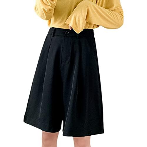 Pantalones Cargo Pantalones Sueltos Informales de Cinco Puntos para Mujer Pantalones con decoración de Bolsillo duraderos Pantalones Cortos de Traje de Pierna Ancha