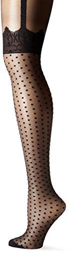 Pretty Polly Damen Strumpfhose mit Spitze, Übergröße - Schwarz - XX-Large