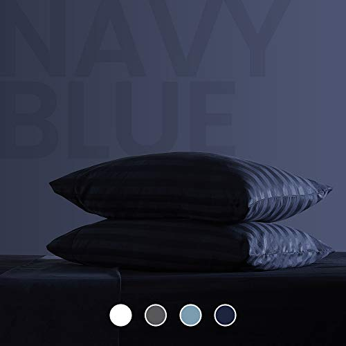 SLEEP ZONE Striped Bed Sheet Sets 120gsm Luxury Microfiber Temperature Regulation Sheets Soft Wrinkle Free Fade Resistant Easy Care Navy Blue Queen