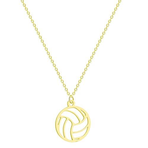Collana con ciondolo piccolo e rotondo a forma di palla da pallavolo, collana per donne/uomini, ciondolo a tema sportivo, pallavolo, regalo per appassionati e Metallo, colore: Oro, cod. PA649B