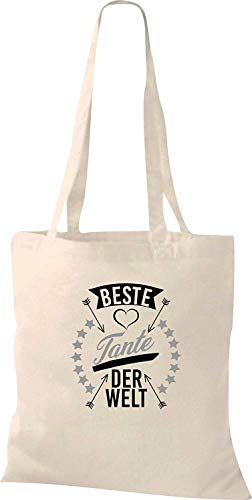 Shirtstown Stoffbeutel, beste Tante der Welt, Tasche Beutel Shopper, Spruch Jute Tote, natur