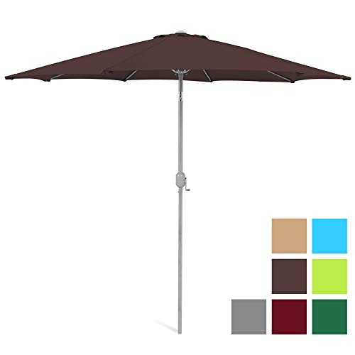 Best Choice Products 9-Foot Outdoor Aluminum Polyester Market Patio Umbrella w/Crank Tilt Adjustment - Brown