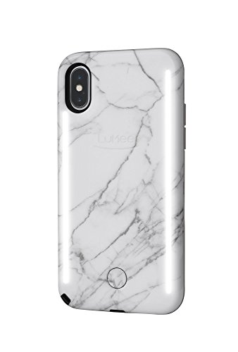 LuMee Duo Phone Case, White Marble | Front & Back LED Lighting, Variable Dimmer, Selfie Phone Case |...