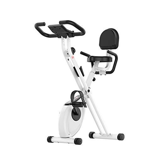 WSN Bicicleta de Ejercicio Profesional para Interiores, Ajuste de Resistencia al Movimiento de 1-8 Engranajes y diseño Plegable Ejercicio aeróbico de bajo Ruido,Negro