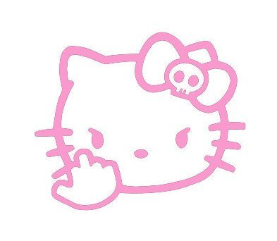 SUPERSTICKI® Hello Kitty Middle Finger JDM Aufkleber Decal Hintergrund/Maße in inch Vinyl Sticker Cars Trucks Vans Walls Laptop  Pink  5.5 x 4.75 in CCI1573