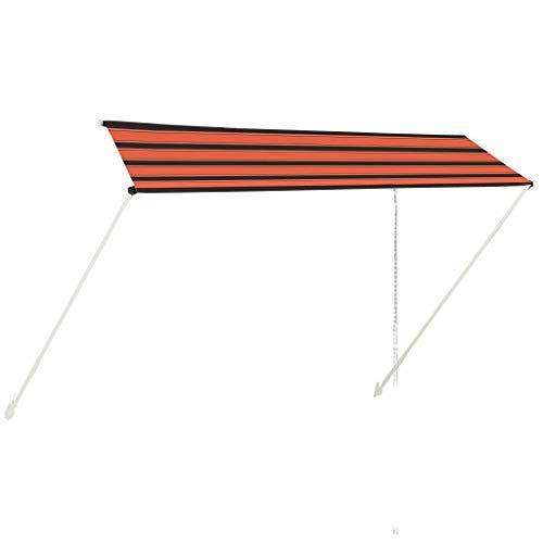 UnfadeMemory Toldo Retráctil Manual para Ventana Balcon Patio,Protégete de los Rayos UV,Ángulo y la Altura Regulables (350x150cm, Naranja y Marrón)